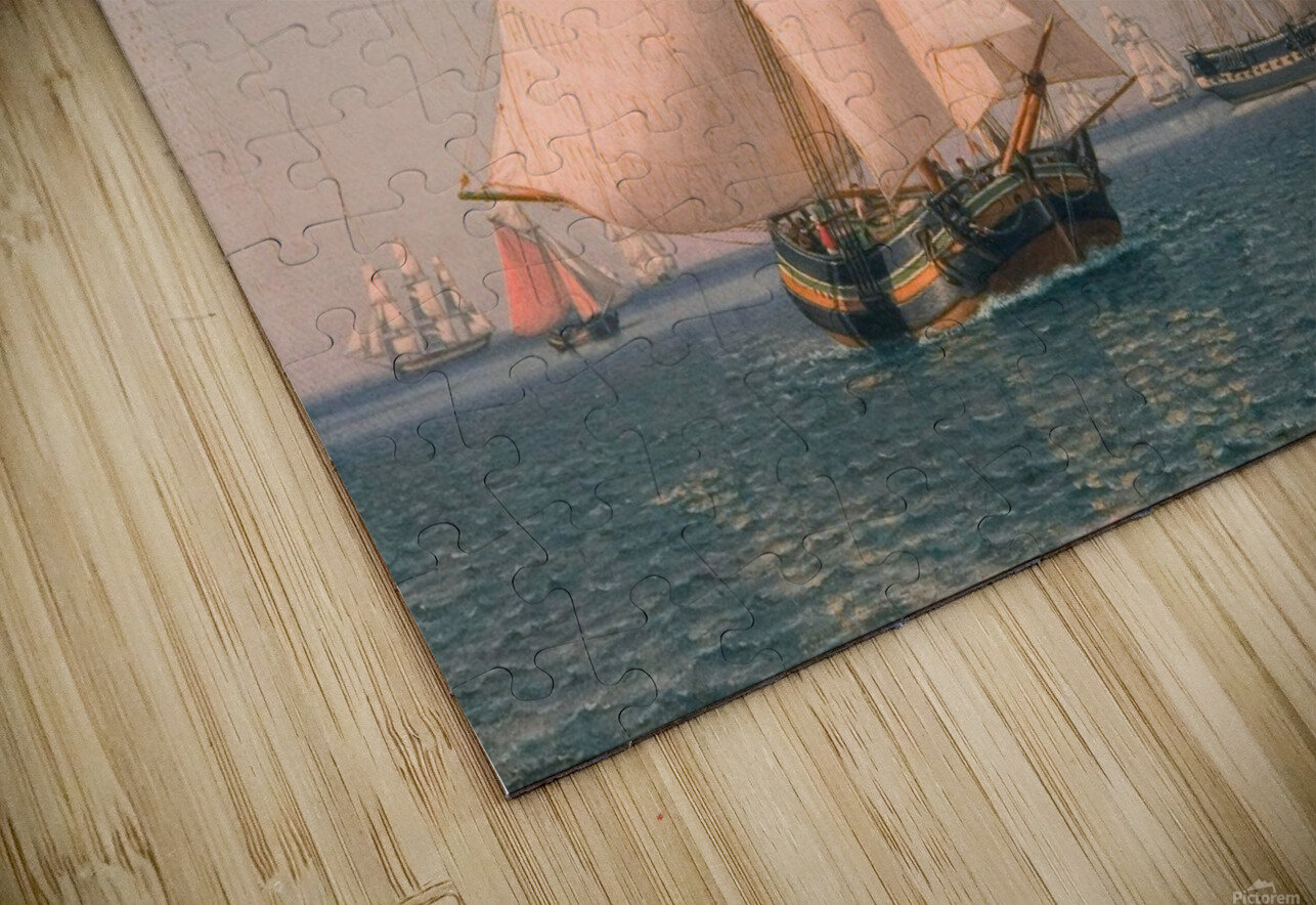 Ships under sail in mild breeze on clear summer afternoon HD Sublimation Metal print