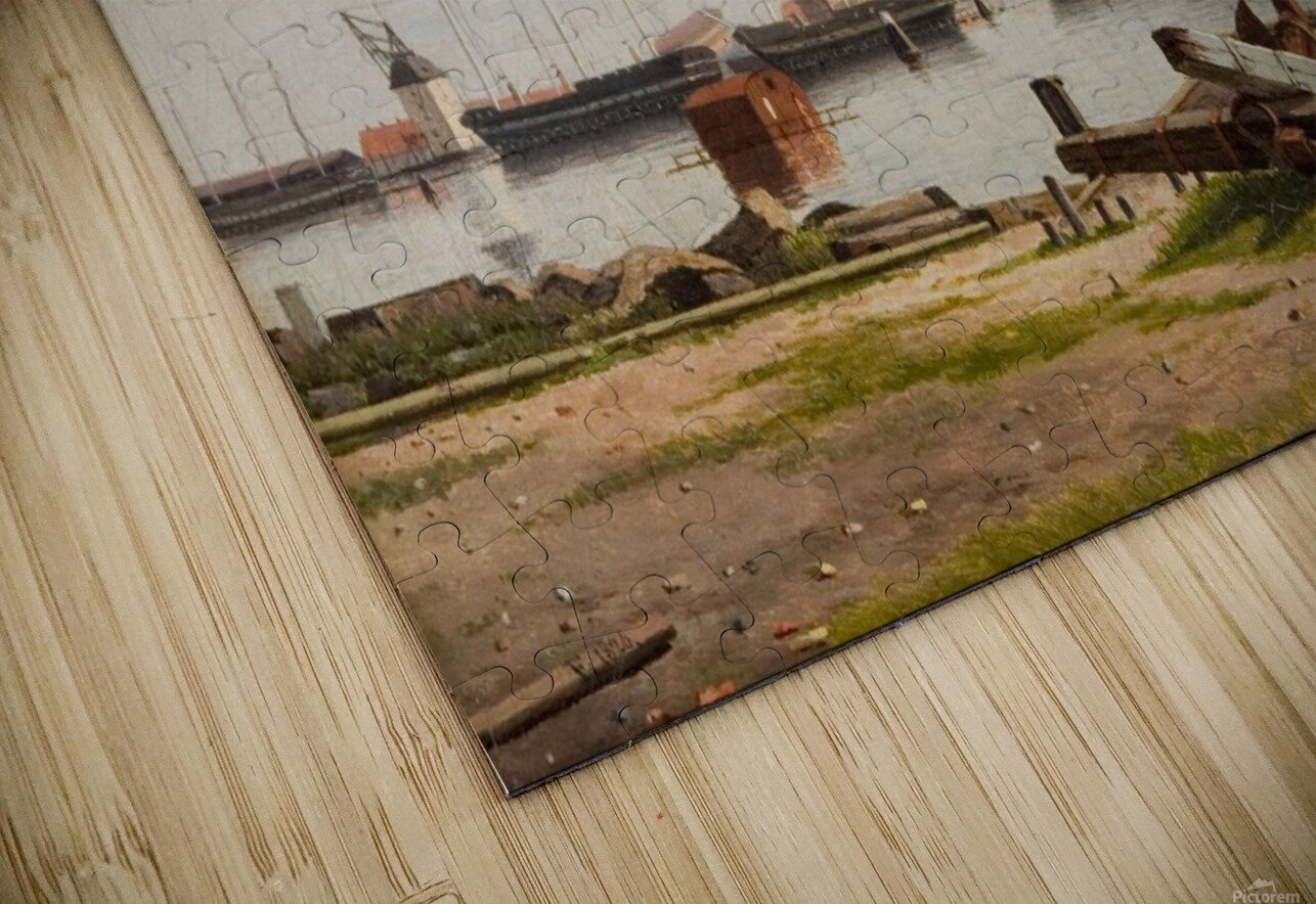 View of the wharf at Nyholm with the crane and some warships HD Sublimation Metal print