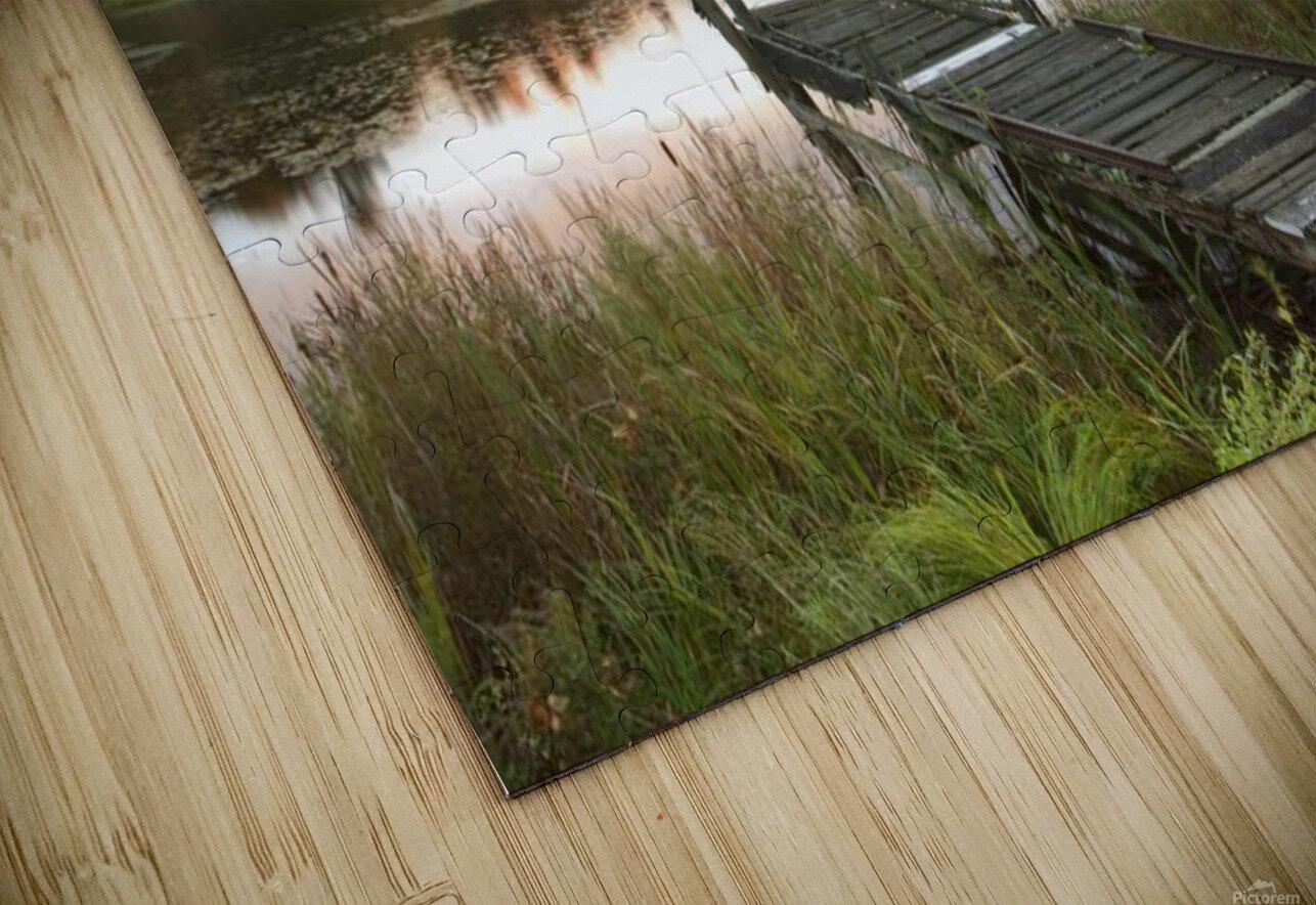 A Dock On A Lake At Sunrise Near Wawa; Ontario, Canada HD Sublimation Metal print