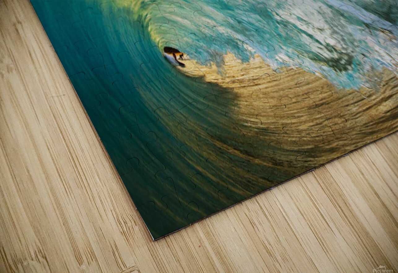Hawaii, Maui, Makena Beach, View Of Distant Surfers Through Barrel Of Turquoise Wave, Sunset Light. HD Sublimation Metal print