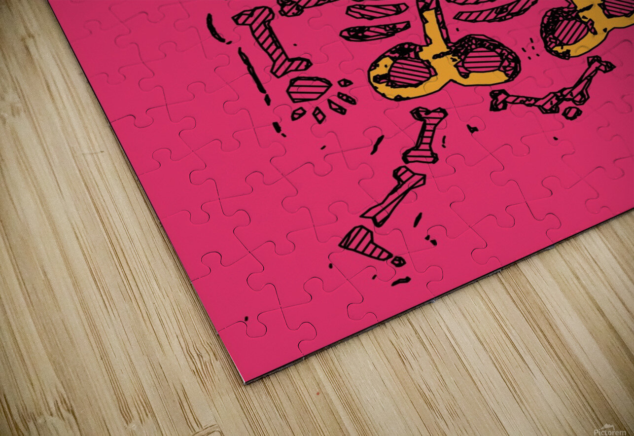 funny skull and bone graffiti drawing in orange brown and pink HD Sublimation Metal print