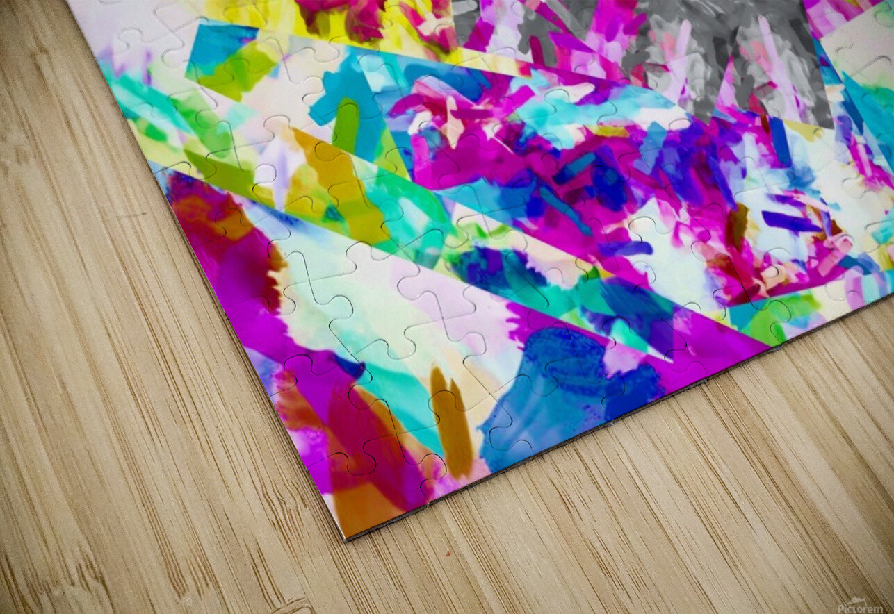 psychedelic splash painting abstract in pink blue yellow green purple HD Sublimation Metal print
