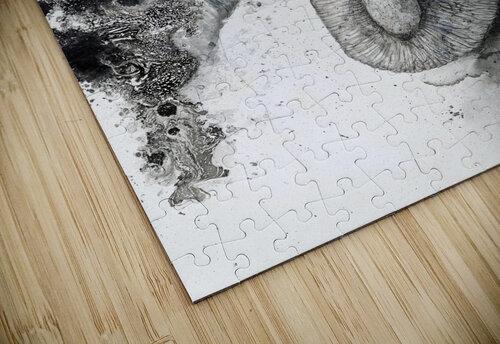 Illustration of an elephant's head jigsaw puzzle