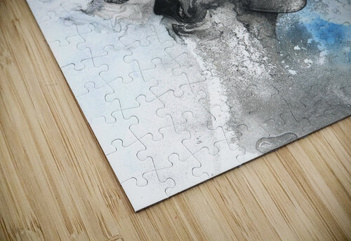 Illustration of a woman's face with splashes and shapes on the top of her head jigsaw puzzle