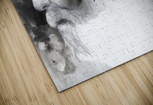 Illustration of a man's face with abstract shapes emerging from the back of the head jigsaw puzzle