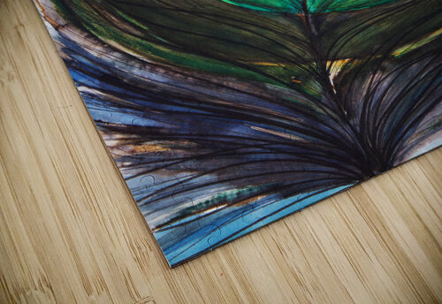 Artwork showing the detail of a colourful bird feather jigsaw puzzle