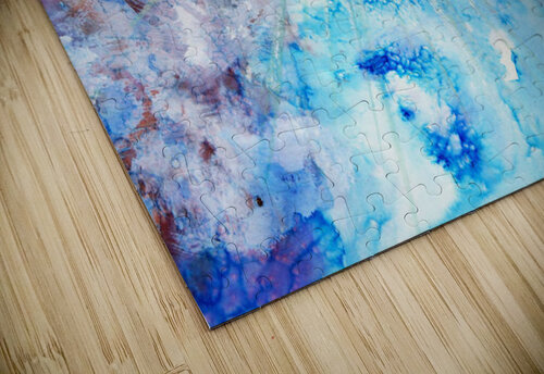 Abstract watercolour painting with a starburst jigsaw puzzle