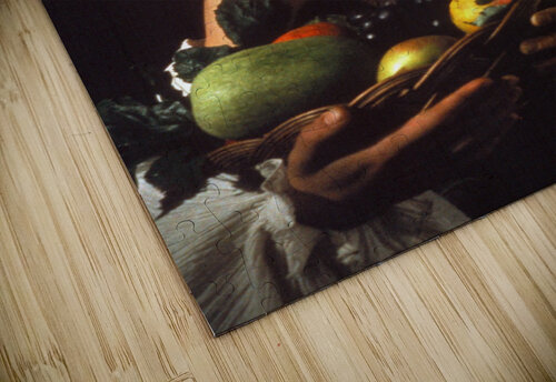 Man with fruits jigsaw puzzle