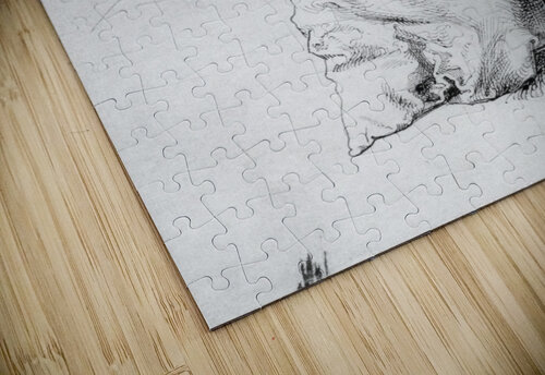 Study sheet with self-portrait, hand, and cushions jigsaw puzzle