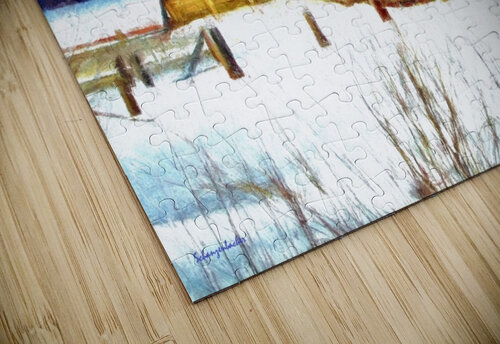 Winter Homestead Watercolor  jigsaw puzzle
