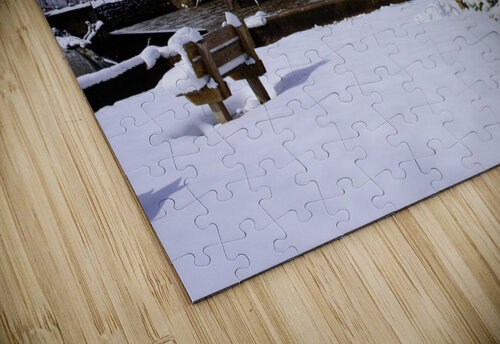 Harpersfield Ohio covered bridge winter and snow jigsaw puzzle