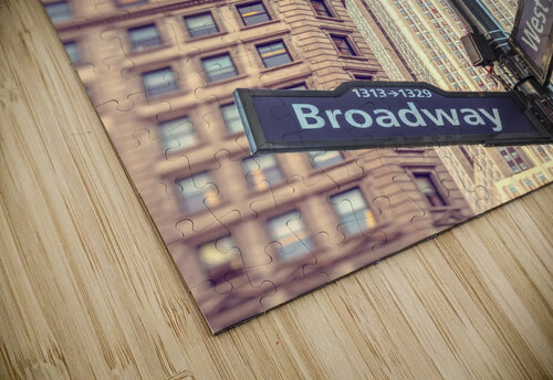 Street lamp and street signs with Empire State building in background - New York jigsaw puzzle