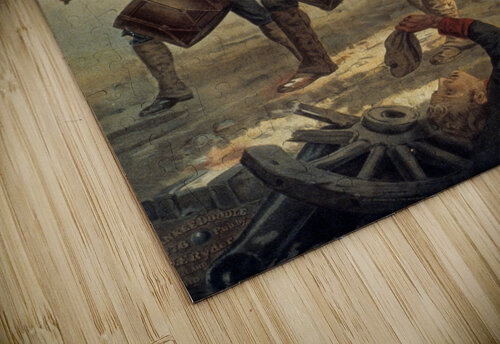 A painting of three men marching through a battle scene jigsaw puzzle