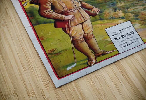 Original vintage poster golf Cambrian railways Mid Wales river jigsaw puzzle