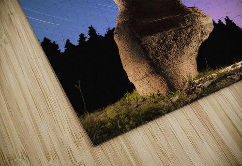 Light painting on monolith and star trails, Anse des Bonnes Femmes at Ile Niapiskau, Mingan Archipelago National Park Reserve of Canada, Cote-Nord, Duplessis region; Quebec, Canada jigsaw puzzle