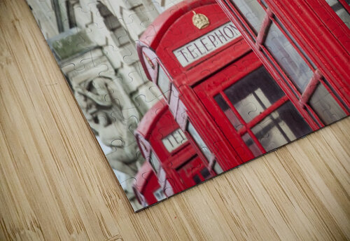 Telephone boxes in a row; Blackpool, Lancashire, England jigsaw puzzle