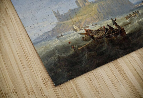 Shipping off Dunstanborough Castle, Northumberland 1844 jigsaw puzzle