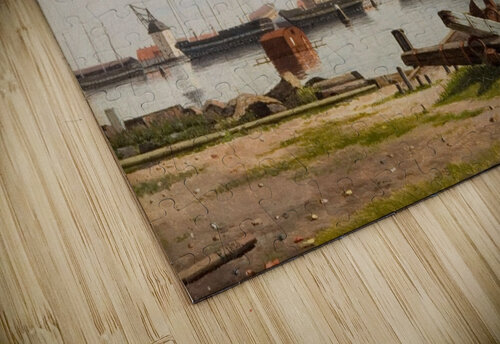 View of the wharf at Nyholm with the crane and some warships jigsaw puzzle