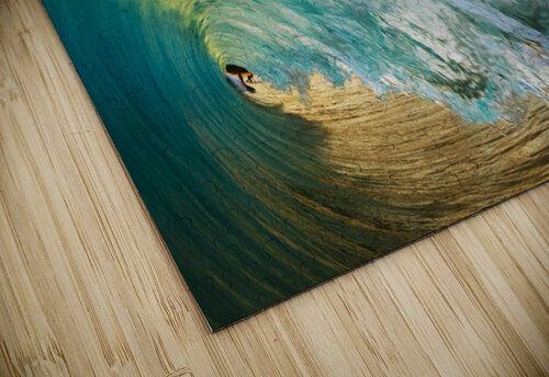 Hawaii, Maui, Makena Beach, View Of Distant Surfers Through Barrel Of Turquoise Wave, Sunset Light. jigsaw puzzle
