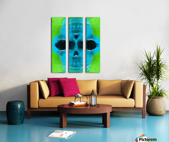 psychedelic skull art geometric triangle abstract pattern in blue and green Split Canvas print