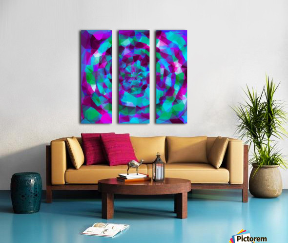 psychedelic geometric polygon pattern abstract in pink purple blue Split Canvas print