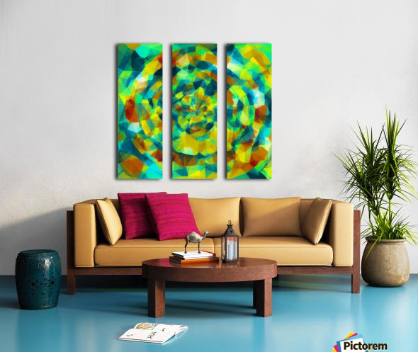 psychedelic geometric polygon pattern abstract in blue yellow green brown Split Canvas print