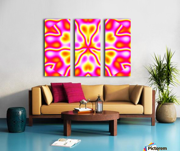 California Wildflowers in Pink and Yellow Split Canvas print