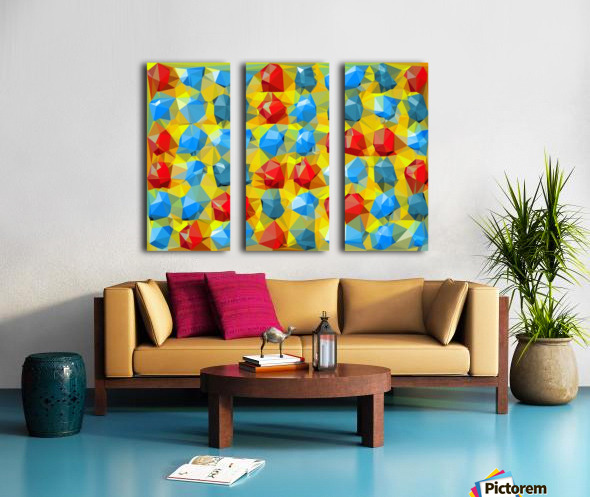geometric polygon abstract pattern yellow blue red Split Canvas print