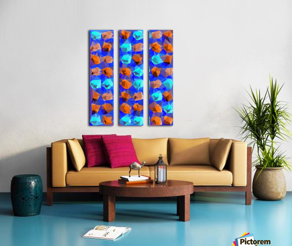 geometric polygon abstract pattern in blue and brown Split Canvas print