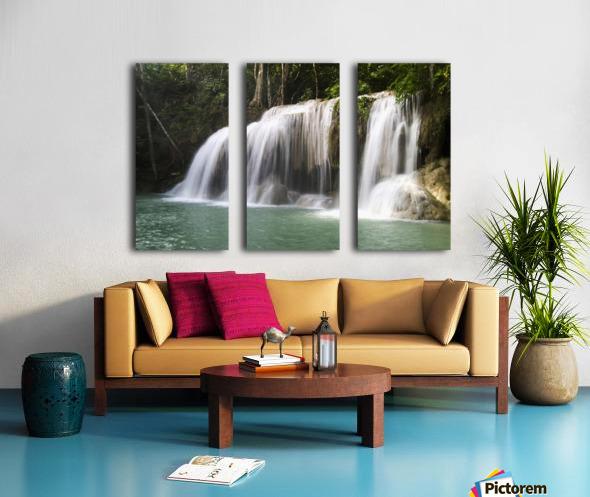 Thailand, Kanchanaburi Province, Erawan National Park, One Of The Falls From The 7-Tiered Erawan Waterfall Split Canvas print