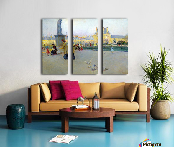 City view with figures and birds in Paris Split Canvas print
