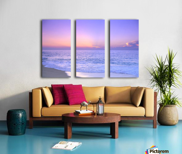 Lavender Sky With Hues Of Pink And Yellow, Shoreline Water To Ocean C1699 Split Canvas print