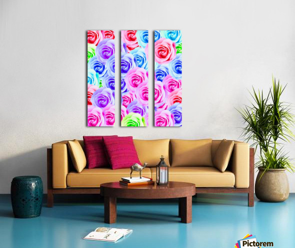 closeup colorful rose texture background in pink purple blue green Split Canvas print
