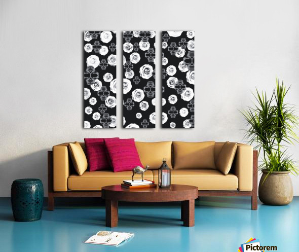 vintage skull and rose abstract pattern in black and white Split Canvas print