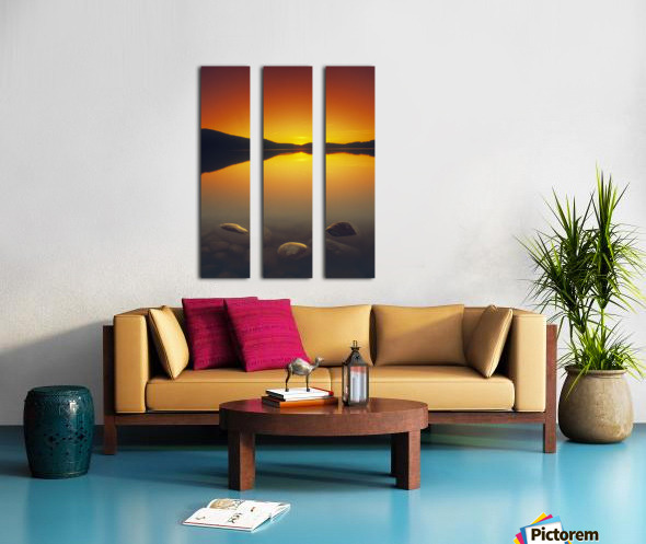 Reesor Lake At Sunset, Cypress Hills Interprovincial Park, Elkwater, Alberta, Canada Split Canvas print