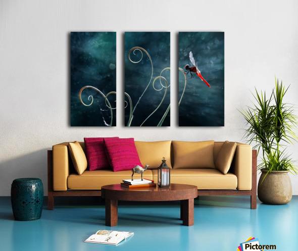 Red Dragonfly Split Canvas print