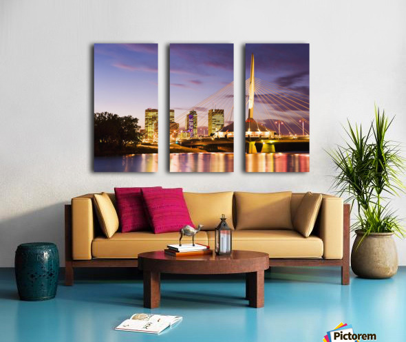 City Skyline, Red River And Provencher Bridge At Dusk, Winnipeg, Manitoba Split Canvas print