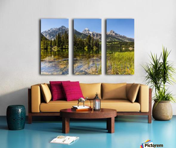 Taggart Lake and Grand Teton, Grand Teton National Park; Wyoming, United States of America Split Canvas print