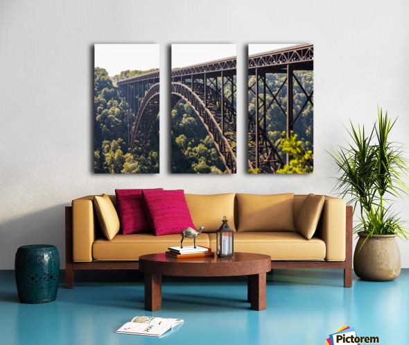 The New River Gorge Bridge is a steel arch bridge 3,030 feet long over the New River Gorge near Fayetteville, in the Appalachian Mountains of the Eastern United States; West Virginia, United States of America Split Canvas print