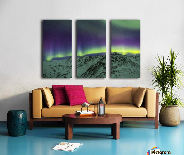 Aurora borealis over mountains within Denali National Park on a very cold winter night.  The Andromeda Galaxy is visible to the left; Alaska, United States of America Split Canvas print
