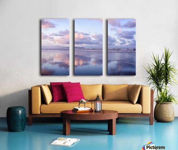 Clouds reflect on an Oregon beach at sunrise; Hammond, Oregon, United States of America Split Canvas print