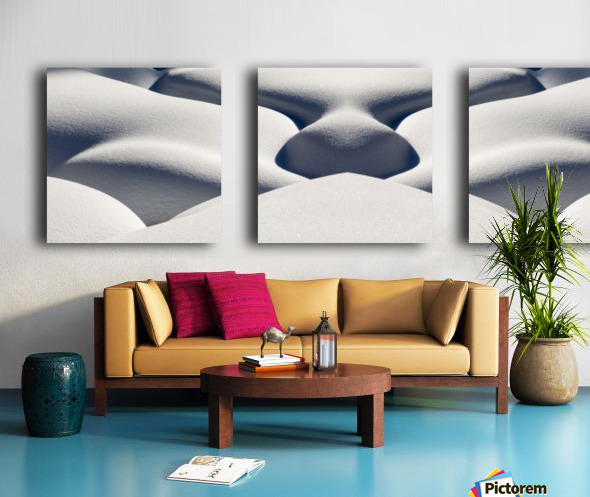Artistic montage of snow contouring a creek bed with graphic designs of curving highlights and shadows; Lake Louise, Alberta, Canada Split Canvas print