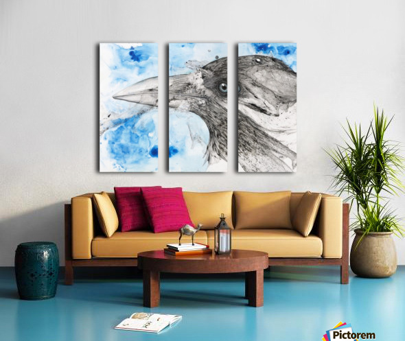 Illustration of a bird's eye and beak with mottled blue and white background Split Canvas print