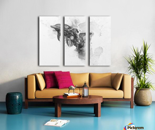 Illustration of a dolphin splashing through the surface of the water Split Canvas print