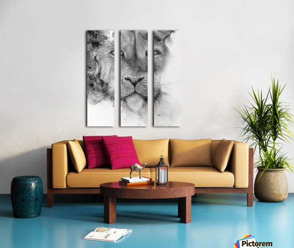 Illustration of a lion's face and a mottled background Split Canvas print