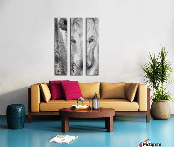 Illustration of a wolf and a mottled background Split Canvas print