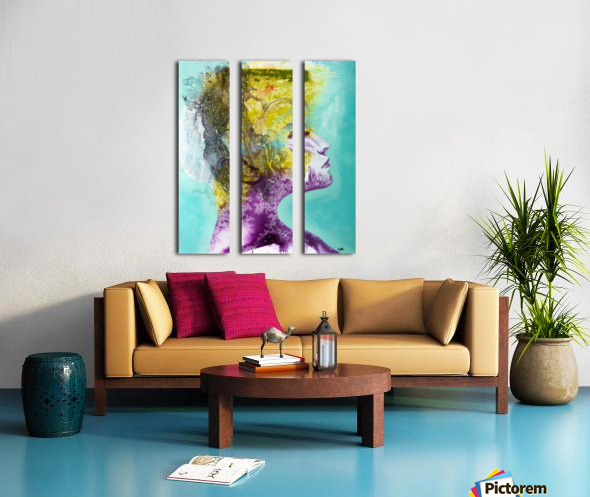 Illustration of a woman's head with colourful abstract patterns emerging from the back of the head Split Canvas print