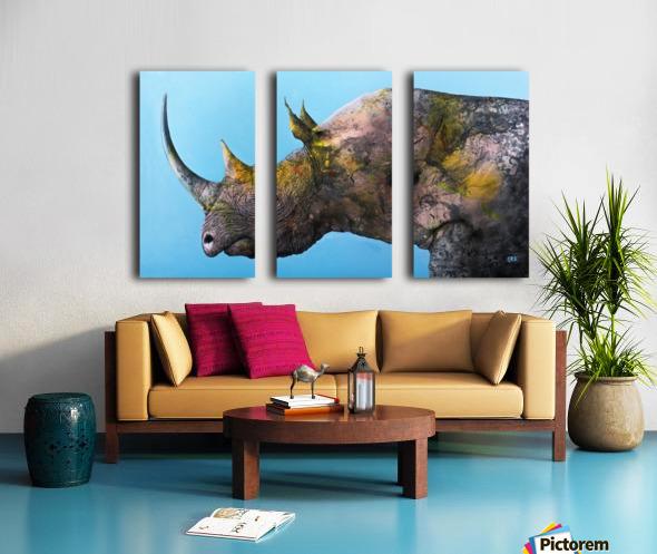Illustration of a white rhinoceros against a blue background Split Canvas print