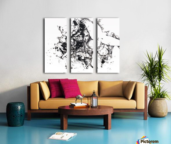 Black and white illustration of birds and human faces Split Canvas print