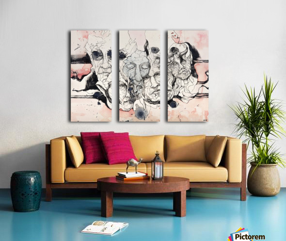 Illustration of male faces overlapping Split Canvas print